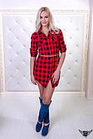 Женская рубашка-халат в клеточку с поясом
