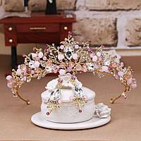 Комплект корона и серьги под золото с разноцветными камнями, диадема, тиара, высота 5,5 см.