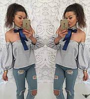 Блузочка с отркытыми плечами и завязкой на шее