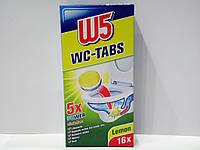 Таблетки для чистки унитаза с ароматом лимона W5 WC-tabs 16 шт., фото 1