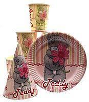 """Набор детской одноразовой посуды (розовый) """" Мишка Тедди """"."""