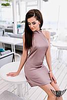Коротенькое платье с завязкой на шее и открытыми плечами