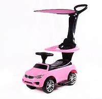 Машинка-каталка БМВ с козырьком розовая