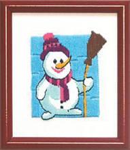 "Набор для Вышивки Гладью, ""Снеговик"", Размер: 11x13см, в наборе: схема+канва+мулине+игла, ТМ ""Чарівна мить "", (УТ0009660)"