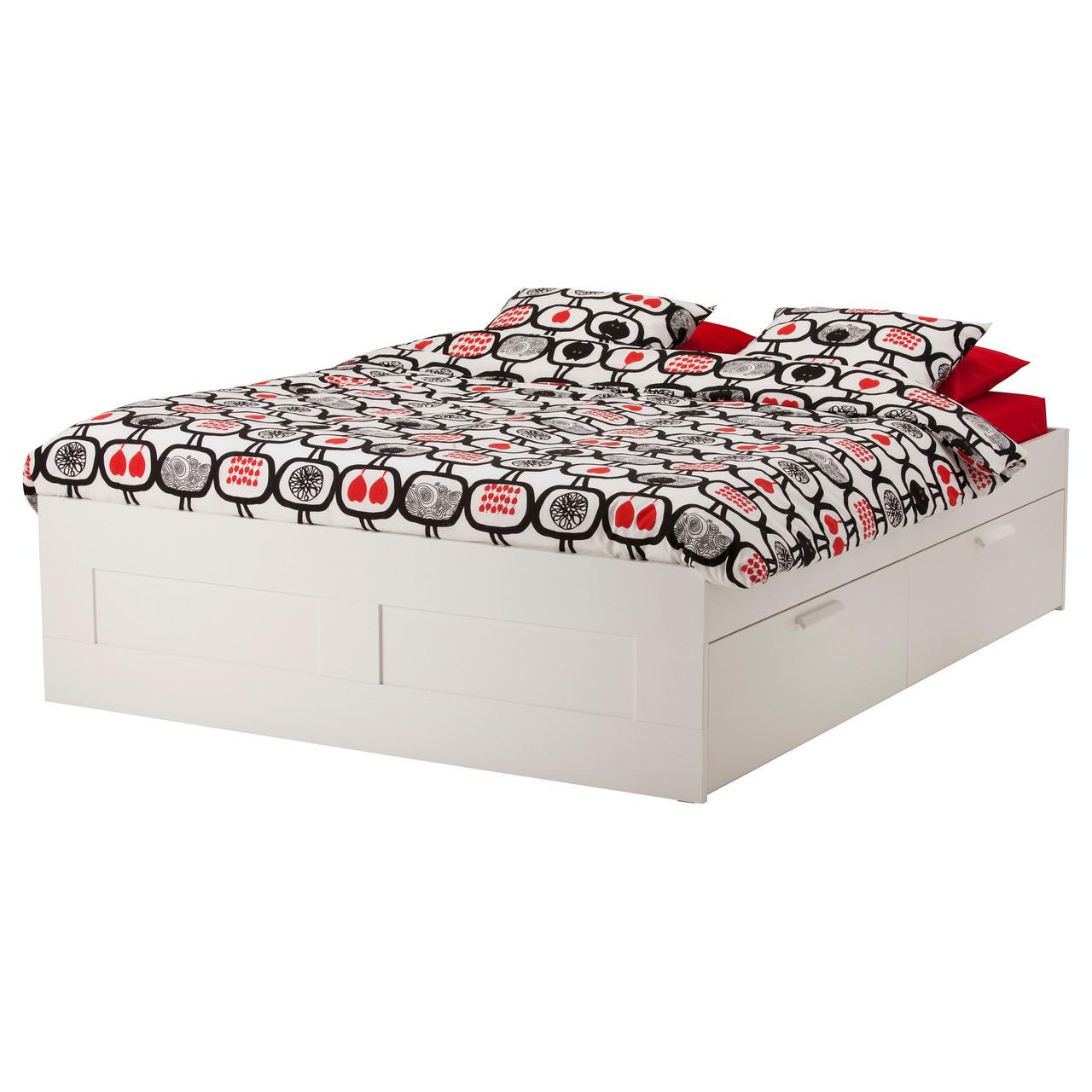 Brimnes Rama łóżka Z Szufladami Biały Lönset 29018740 продажа цена в киеве кровати от Dom Online маркет товаров для дома и работы Ikea