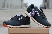 Мужские кроссовки REEBOK, пресс кожа, темно синие с бежевым / бег кроссовки мужские РИБОК, модные