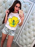 Стильные женские джинсовые шорты с паетками тренд 2017 года