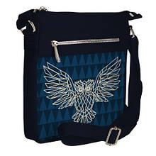 Сумка стильная Pocket цвет темно-синий Сова блэкворк унисекс