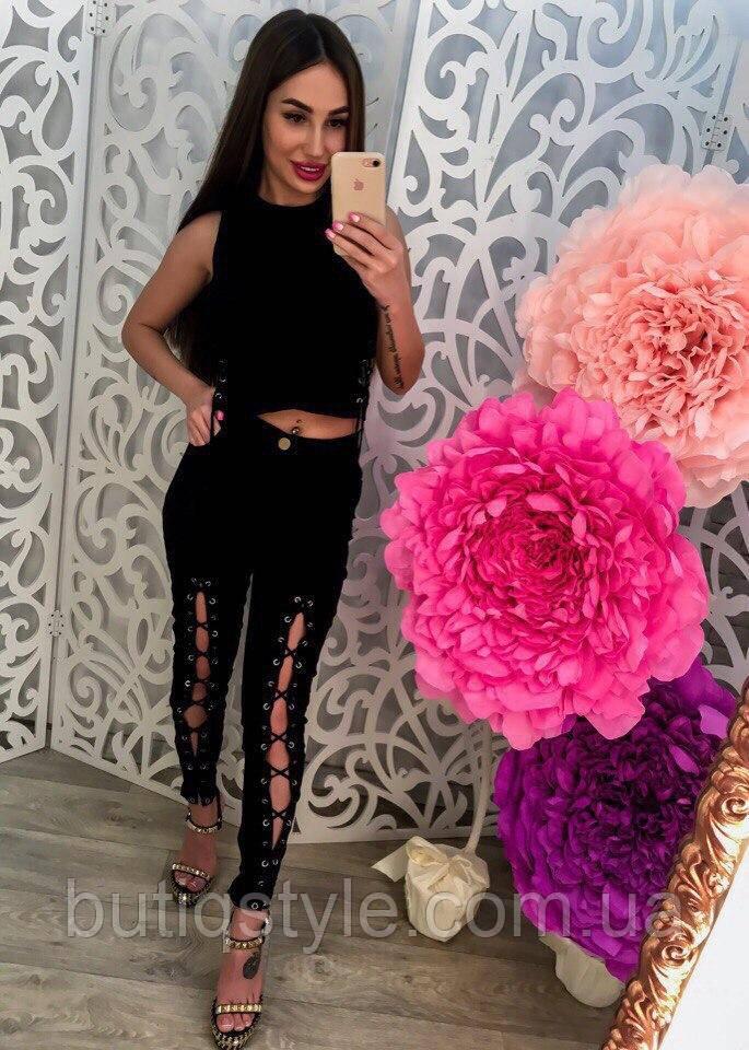 Модные черные женские брюки на шнуровке