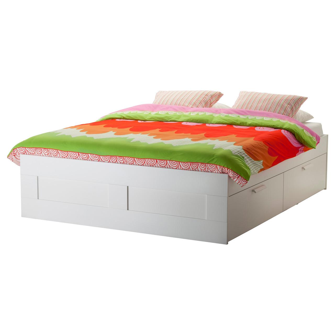 Brimnes Rama łóżka Z Szufladami Biały 99902939