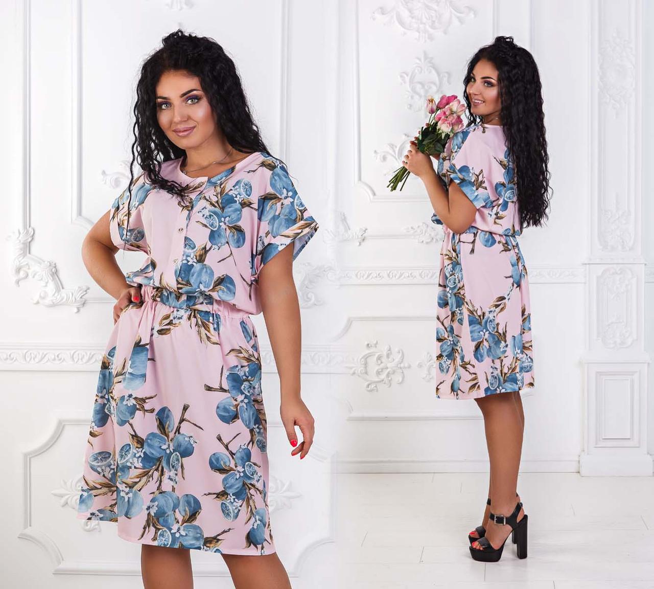 """Элегантное летнее женское платье в больших размерах 1145 """"Софт Принт Кармашки"""" в расцветках"""
