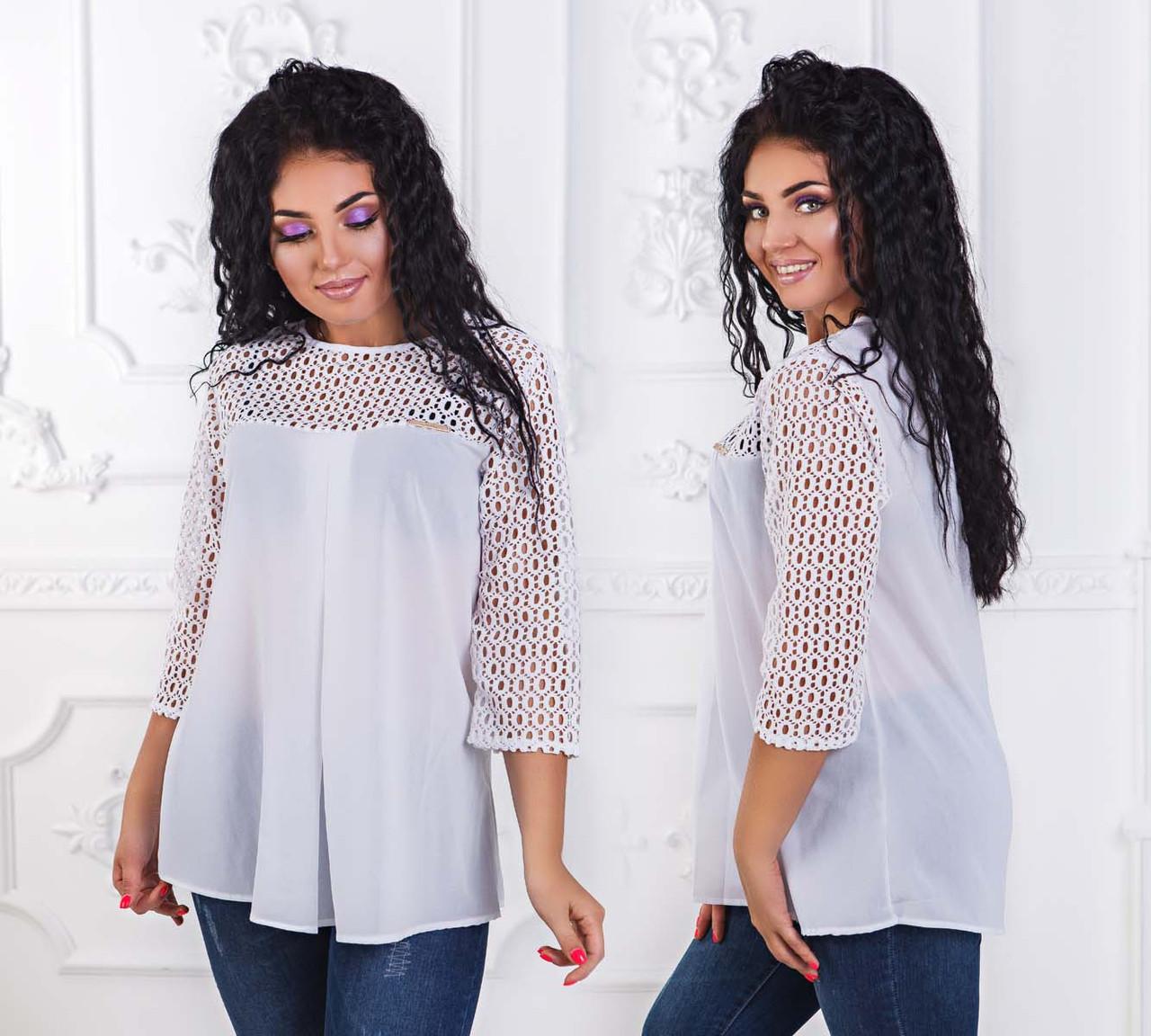 """Элегантная женская блуза в больших размерах 1509 """"Разлетайка Креп Гипюр"""" в расцветках"""