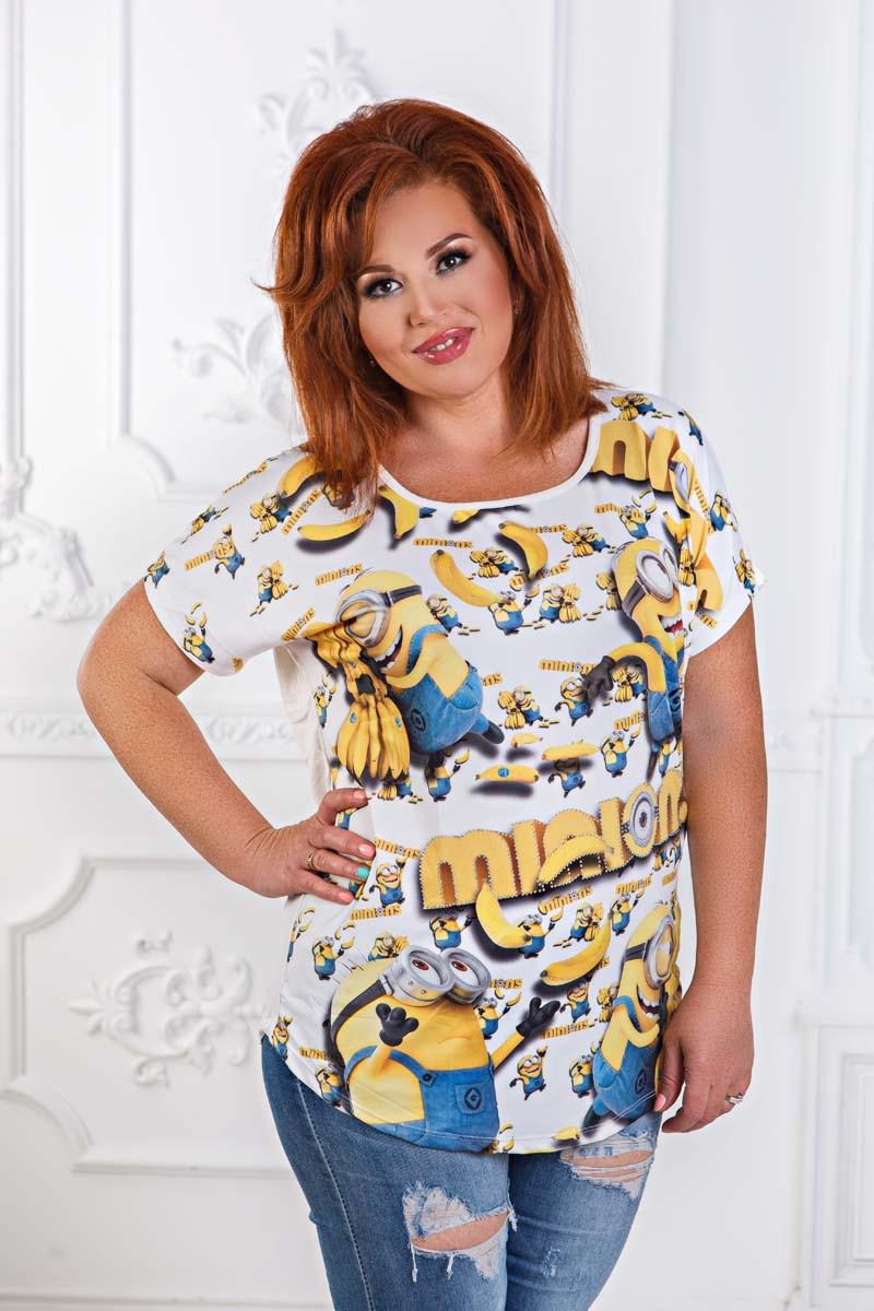 """Женская стильная футболка в больших размерах 2908 """"Minions"""""""