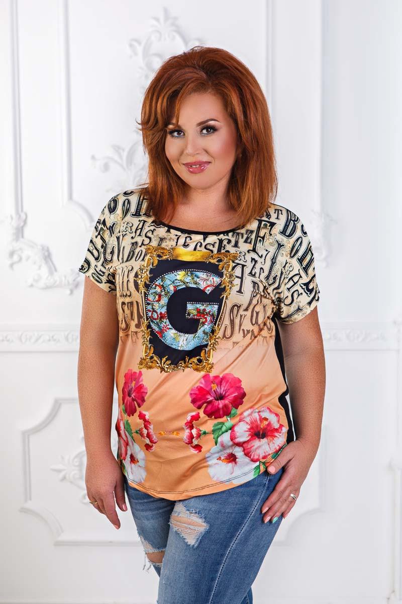 """Стильная женская футболка в больших размерах 7422 """"G"""""""