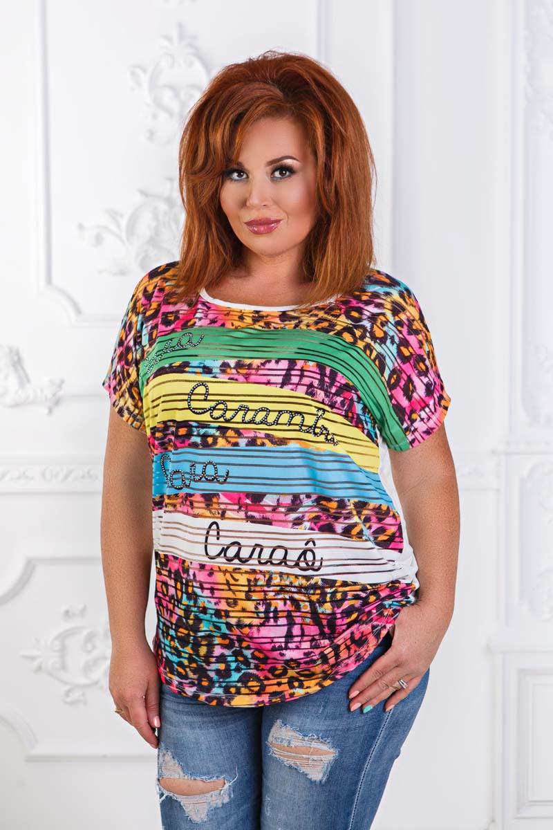 """Женская стильная футболка в больших размерах 2906 """"Лео"""""""