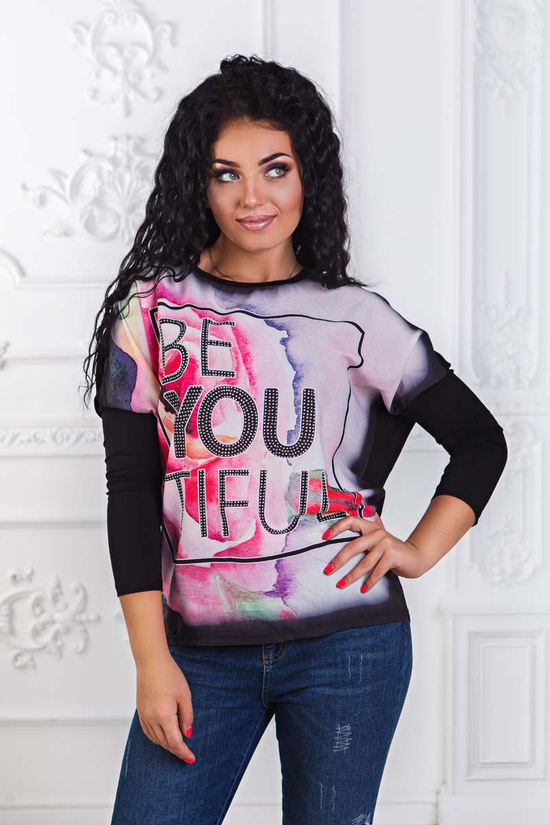 """Элегантная женская туника до больших размеров 2302-2 """"BE YOU TIFUL"""" - """"Пальмира"""" - прямой поставщик модной одежды оптом и в розницу от производителя в Одессе"""