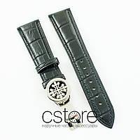 Кожаный ремешок с застежкой для часов Patek Philippe black silver 22 мм на 18 мм (07184)