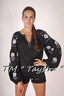 Блузка бохо вышитая, черная, лен, этно стиль, Bohemia