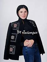 Черное пальто женское кашемир с вышивкой, этностиль