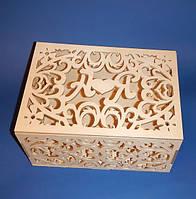 Резная свадебная шкатулка для пожеланий с инициалами