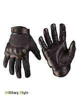 Кожаные тактические перчатки с кевларовыми вставкам (Black)
