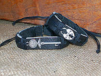 Парные кожаные браслеты КЛЮЧИК-ЗАМОЧЕК, ручная работа. Цена указана за пару.