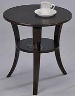 Кофейный столик SR-0942 WD, круглый стеклянный столик, цвет орех
