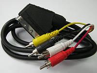 """Межблочный соединительный шнур """"SCART- 4RCA"""". Длина - 1,2 метра."""
