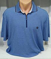 Мужская футболка большого размера змейка синяя . льняная.