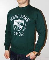 Зеленая Мужская Толстовка (Турция) батник молодёжный с манжетам NEW YORK