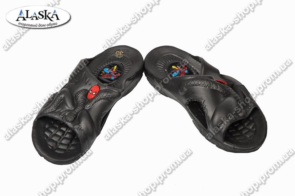 Детские шлепанцы черные (Код: 203 паук)