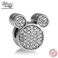 """Серебряная подвеска-клипса Пандора (Pandora) """"Микки Маус. Disney"""" для браслета"""