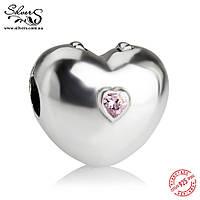 """Серебряная подвеска-клипса Пандора (Pandora) """"Твердое сердце"""" для браслета"""