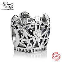 """Серебряная подвеска-шарм Пандора (Pandora) """"Корона принцессы. Disney"""" для браслета"""