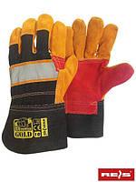 Перчатки рабочие кожаные с светоотражающей полоскою REIS (RAW-POL) Польша RBPOWERGOLD BYC