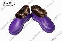 Галоши меховые женские фиолетовые (Код: ГП-11 мех жен)