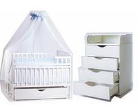 """Акция! Комплект """"Дитячий сон"""" """"Лодочка с комодом"""" : Комод+ кроватка маятник+ матрас кокос + постельный набор. белая"""