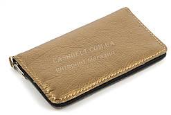 Недорогой удобным золотистый чехол-футляр для телефона на молнии (101094)
