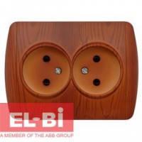 Розетка двойная без заземления вишня EL-BI Zirve Woodline 501-001100-908