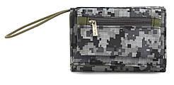 Удобный прочный спортивный мужской кошелек из плотной ткани JAEGER MASTER art. (101105) серый пиксель