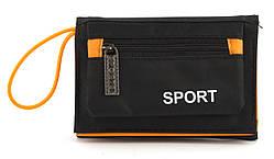 Удобный прочный спортивный мужской кошелек из плотной ткани JAEGER MASTER art. (101099) черный/оранжевый