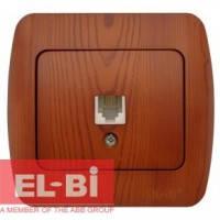 Розетка одинарная телефонная RJ11 вишня EL-BI Zirve Woodline 501-000601-221