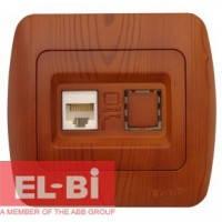 Розетка одинарная компьютерная RJ45 вишня EL-BI Zirve Woodline 501-000201-247 501-000601-247