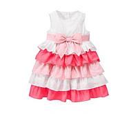 Платье нарядное девочке нарядное пышное бело-розовое с рюшами Gymboree