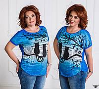 Женская футболка с принтом кошек синенькая, синяя