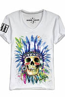 """Мужская футболка с V-образным воротом OPIUM-""""Indian skull"""""""