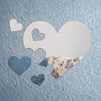 Зеркала акриловые «Сердца», размер 600х520
