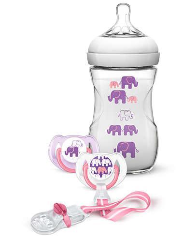 AVENT Набір для дівчинки 1 бутилочка серії Natural 260 мл з малюнком, 2 пустишки 6-18 місяців, кліпса для порожній