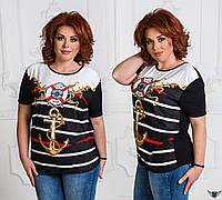 Женская футболка в полосочку с принтом якоря черная, черненькая