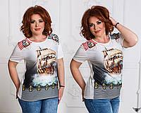 Женская футболка в полосочку с принтом якоря и корабля беленькая, белая